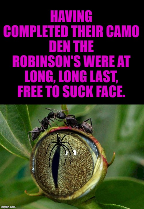 the ants don't see the plant not seeing them | HAVING COMPLETED THEIR CAMO DEN THE ROBINSON'S WERE AT LONG, LONG LAST, FREE TO SUCK FACE. | image tagged in the ants don't see the plant not seeing them | made w/ Imgflip meme maker