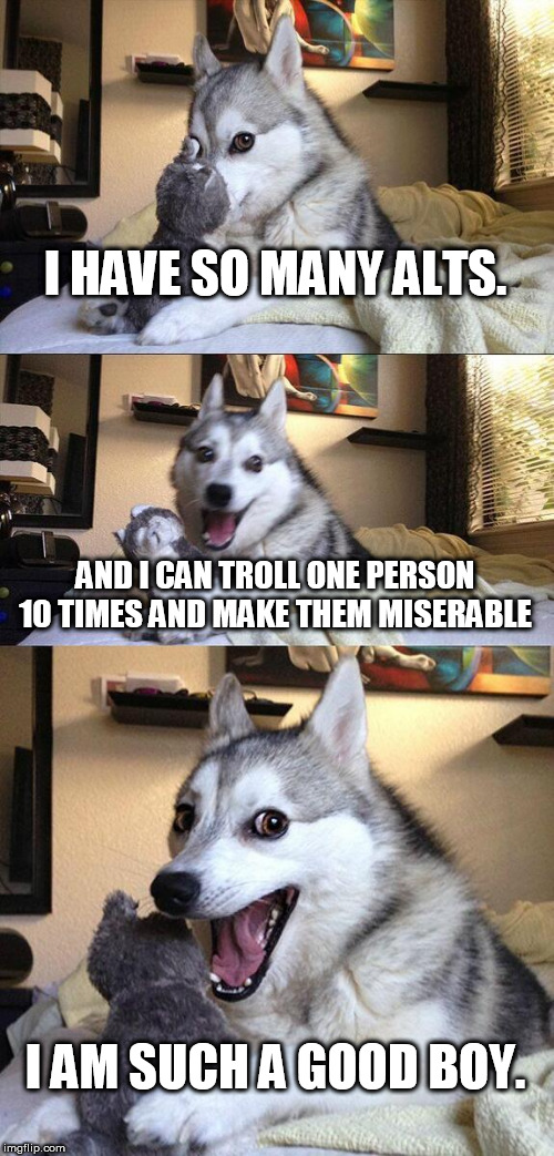 such a good boy many alts troll dog | I HAVE SO MANY ALTS. AND I CAN TROLL ONE PERSON 10 TIMES AND MAKE THEM MISERABLE I AM SUCH A GOOD BOY. | image tagged in memes,bad pun dog,trolls,trolling,many alts,being a jerk online | made w/ Imgflip meme maker