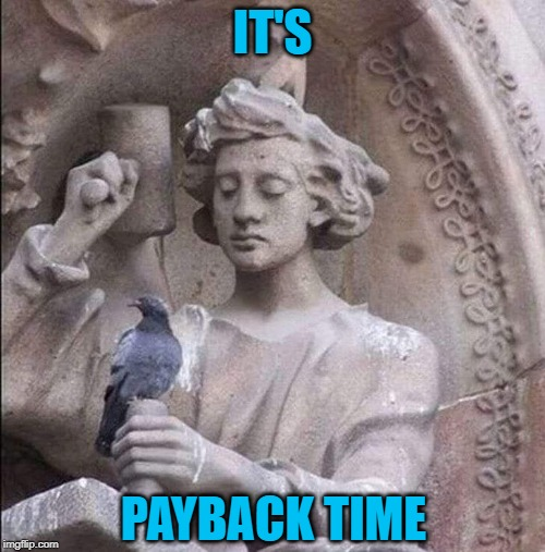 Stop Soiling Me !!! | IT'S PAYBACK TIME | image tagged in statue,pigeon,soil | made w/ Imgflip meme maker