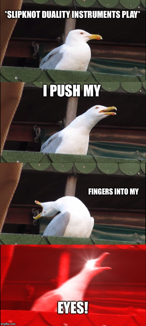 Inhaling Seagull Meme | *SLIPKNOT DUALITY INSTRUMENTS PLAY* I PUSH MY FINGERS INTO MY EYES! | image tagged in memes,inhaling seagull | made w/ Imgflip meme maker