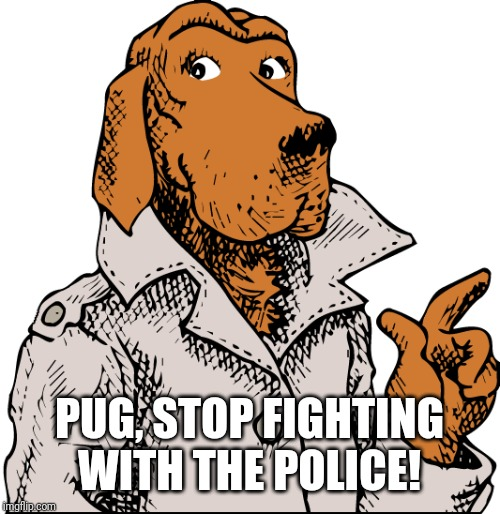 McGruff Says | PUG, STOP FIGHTING WITH THE POLICE! | image tagged in mcgruff says | made w/ Imgflip meme maker
