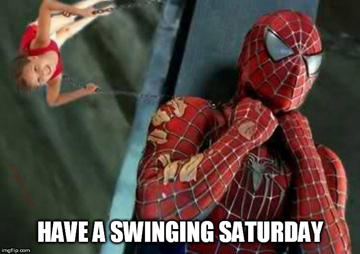 spiderman | HAVE A SWINGING SATURDAY | image tagged in spiderman,swing,saturday,choke,spider-man,marvel comics | made w/ Imgflip meme maker