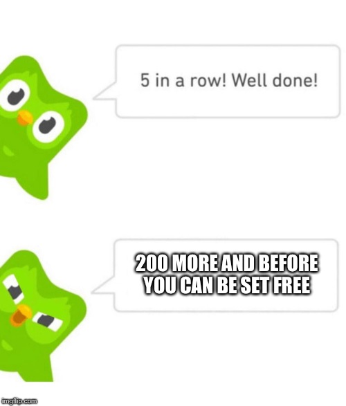 Duolingo 5 in a row | 200 MORE AND BEFORE YOU CAN BE SET FREE | image tagged in duolingo 5 in a row | made w/ Imgflip meme maker