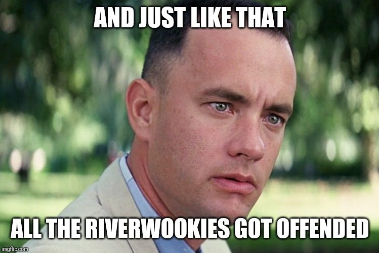 And Just Like That Meme | AND JUST LIKE THAT ALL THE RIVERWOOKIES GOT OFFENDED | image tagged in memes,and just like that | made w/ Imgflip meme maker