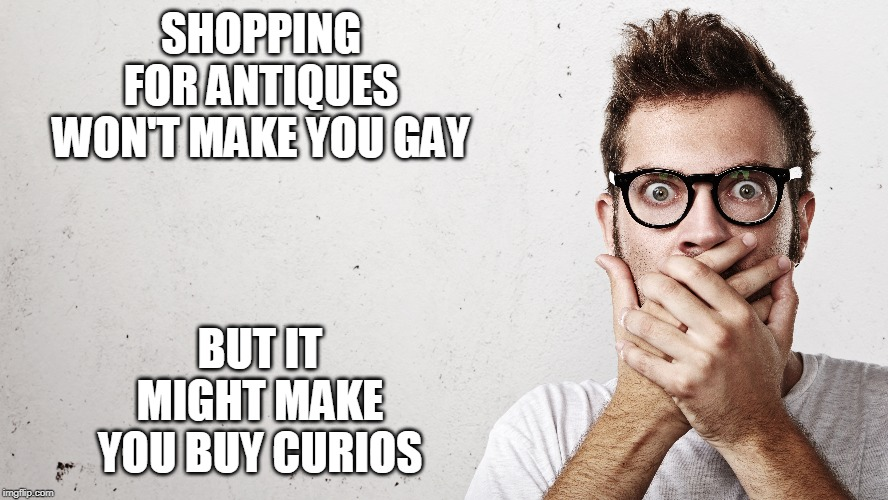 gay shopping | SHOPPING FOR ANTIQUES WON'T MAKE YOU GAY BUT IT MIGHT MAKE YOU BUY CURIOS | image tagged in antiques,gay,bi curious | made w/ Imgflip meme maker