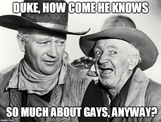 DUKE, HOW COME HE KNOWS SO MUCH ABOUT GAYS, ANYWAY? | made w/ Imgflip meme maker