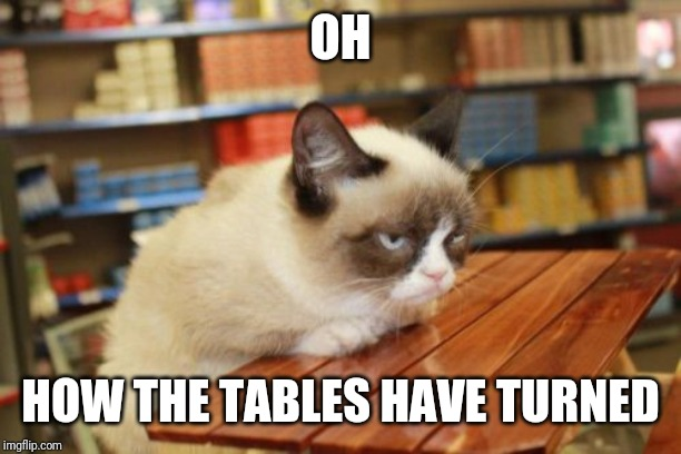 How she wishes it were on your face. | OH HOW THE TABLES HAVE TURNED | image tagged in memes,grumpy cat table,grumpy cat | made w/ Imgflip meme maker