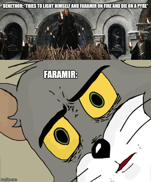 Denethor and Faramir |  DENETHOR: *TRIES TO LIGHT HIMSELF AND FARAMIR ON FIRE AND DIE ON A PYRE*; FARAMIR: | image tagged in unsettled tom,denethor,faramir,pyre,despair,lotr | made w/ Imgflip meme maker