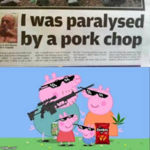 Me and da boiz paralyzing people with pork chops. | image tagged in memes,meme,peppa pig,mlg | made w/ Imgflip meme maker