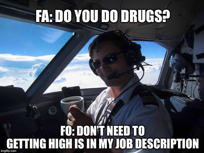 FO Vs FA | FA: DO YOU DO DRUGS? FO: DON'T NEED TOGETTING HIGH IS IN MY JOB DESCRIPTION | image tagged in airlines,flight attendant,pilot | made w/ Imgflip meme maker