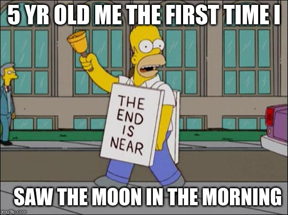 end is near | 5 YR OLD ME THE FIRST TIME I SAW THE MOON IN THE MORNING | image tagged in end is near | made w/ Imgflip meme maker