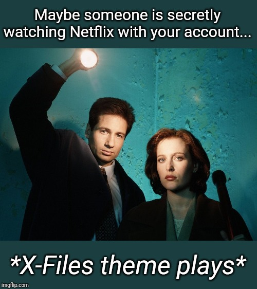 X files | Maybe someone is secretly watching Netflix with your account... *X-Files theme plays* | image tagged in x files | made w/ Imgflip meme maker
