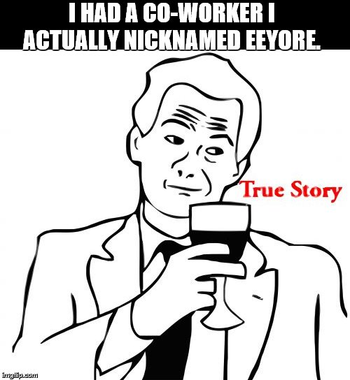 True Story Meme | I HAD A CO-WORKER I ACTUALLY NICKNAMED EEYORE. | image tagged in memes,true story | made w/ Imgflip meme maker