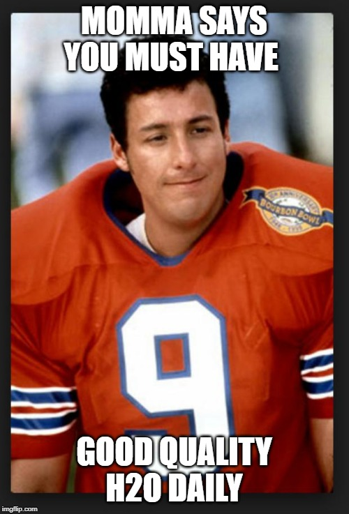 The waterboy | MOMMA SAYS YOU MUST HAVE GOOD QUALITY H2O DAILY | image tagged in the waterboy | made w/ Imgflip meme maker