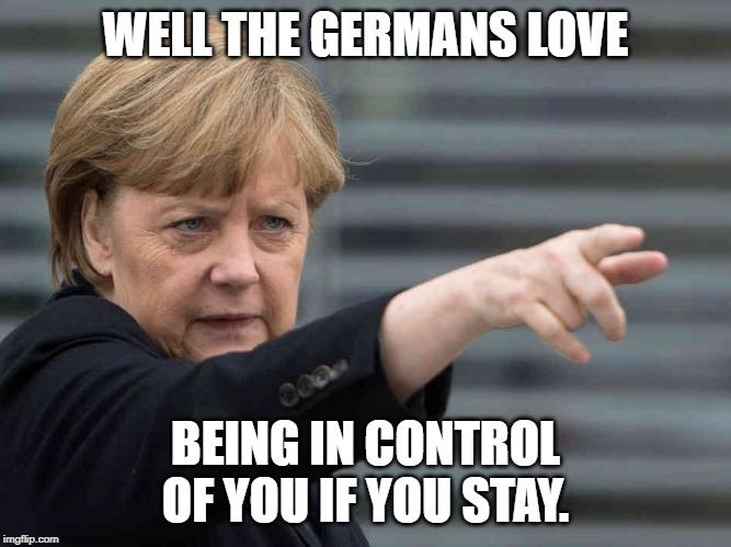 Merkel: Das wird Verboten! | WELL THE GERMANS LOVE BEING IN CONTROL OF YOU IF YOU STAY. | image tagged in merkel das wird verboten | made w/ Imgflip meme maker