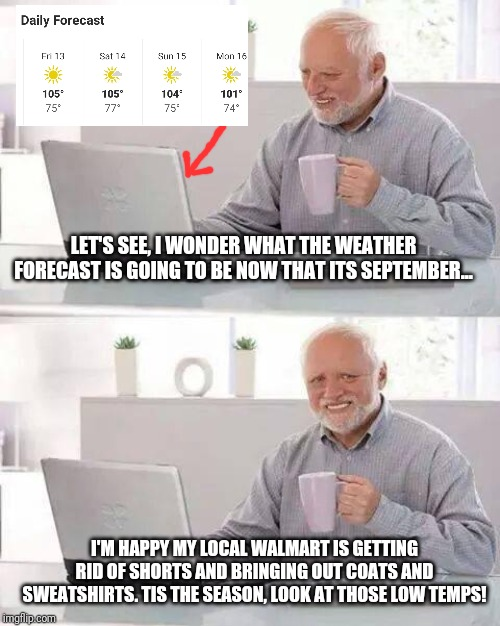 What temperatures are in Arizona in September... | LET'S SEE, I WONDER WHAT THE WEATHER FORECAST IS GOING TO BE NOW THAT ITS SEPTEMBER... I'M HAPPY MY LOCAL WALMART IS GETTING RID OF SHORTS A | image tagged in memes,hide the pain harold | made w/ Imgflip meme maker