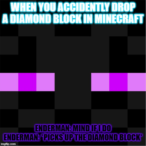 WHEN YOU ACCIDENTLY DROP A DIAMOND BLOCK IN MINECRAFT ENDERMAN: MIND IF I DO ENDERMAN: *PICKS UP THE DIAMOND BLOCK* | image tagged in i feel u | made w/ Imgflip meme maker