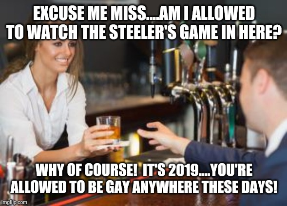 EXCUSE ME MISS....AM I ALLOWED TO WATCH THE STEELER'S GAME IN HERE? WHY OF COURSE!  IT'S 2019....YOU'RE ALLOWED TO BE GAY ANYWHERE THESE DAYS! | image tagged in steelers,nfl,nfl memes,nfl football | made w/ Imgflip meme maker