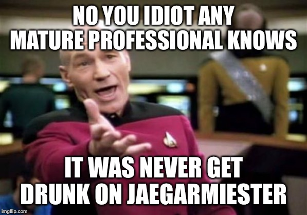 Picard Wtf Meme | NO YOU IDIOT ANY MATURE PROFESSIONAL KNOWS IT WAS NEVER GET DRUNK ON JAEGARMIESTER | image tagged in memes,picard wtf | made w/ Imgflip meme maker