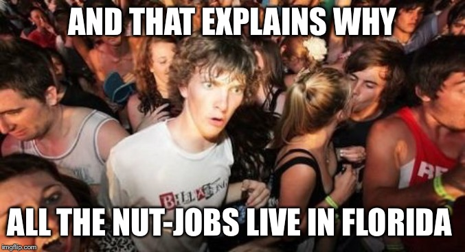Sudden Clarity Clarence Meme | AND THAT EXPLAINS WHY ALL THE NUT-JOBS LIVE IN FLORIDA | image tagged in memes,sudden clarity clarence | made w/ Imgflip meme maker