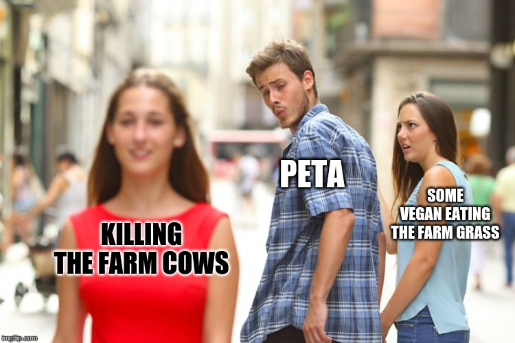 Distracted Boyfriend Meme | KILLING THE FARM COWS PETA SOME VEGAN EATING THE FARM GRASS | image tagged in memes,distracted boyfriend | made w/ Imgflip meme maker