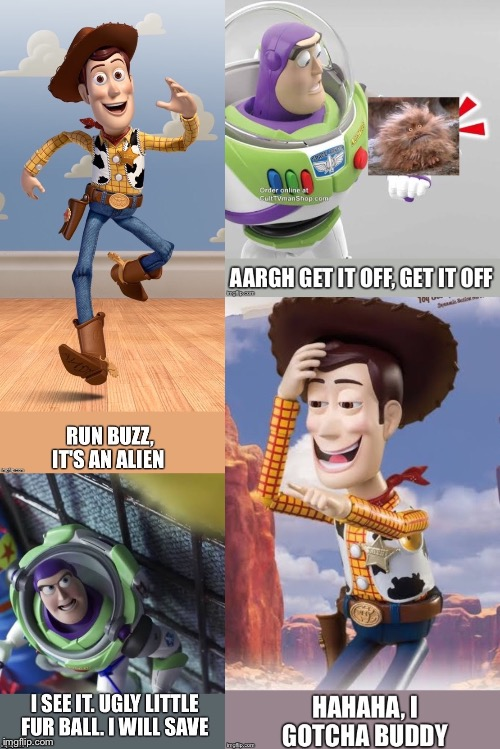 Buzz v's Alien | image tagged in toy story | made w/ Imgflip meme maker