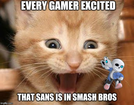 Excited Cat |  EVERY GAMER EXCITED; THAT SANS IS IN SMASH BROS | image tagged in memes,excited cat | made w/ Imgflip meme maker