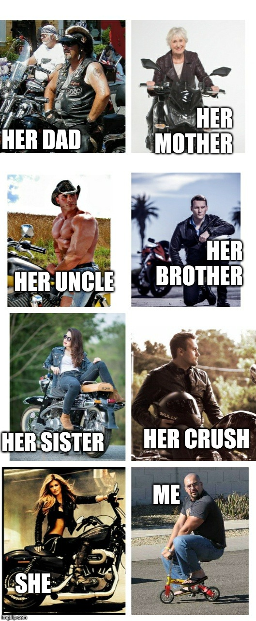Me and my crush family hn | HER DAD HER UNCLE HER SISTER SHE HER MOTHER HER BROTHER HER CRUSH ME | image tagged in me and my crush family hn | made w/ Imgflip meme maker