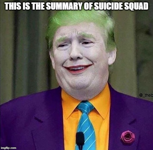 Trump the Joker | THIS IS THE SUMMARY OF SUICIDE SQUAD | image tagged in trump the joker | made w/ Imgflip meme maker