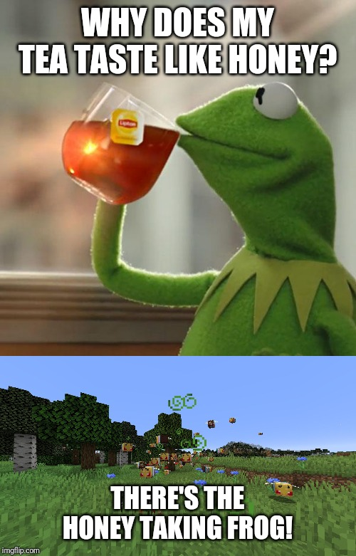 WHY DOES MY TEA TASTE LIKE HONEY? THERE'S THE HONEY TAKING FROG! | image tagged in memes,but thats none of my business,angry trans rights minecraft bee,minecraft,bees | made w/ Imgflip meme maker