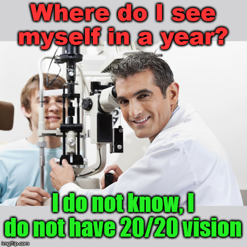 Optometry humor |  Where do I see myself in a year? I do not know, I do not have 20/20 vision | image tagged in 2020,vision | made w/ Imgflip meme maker