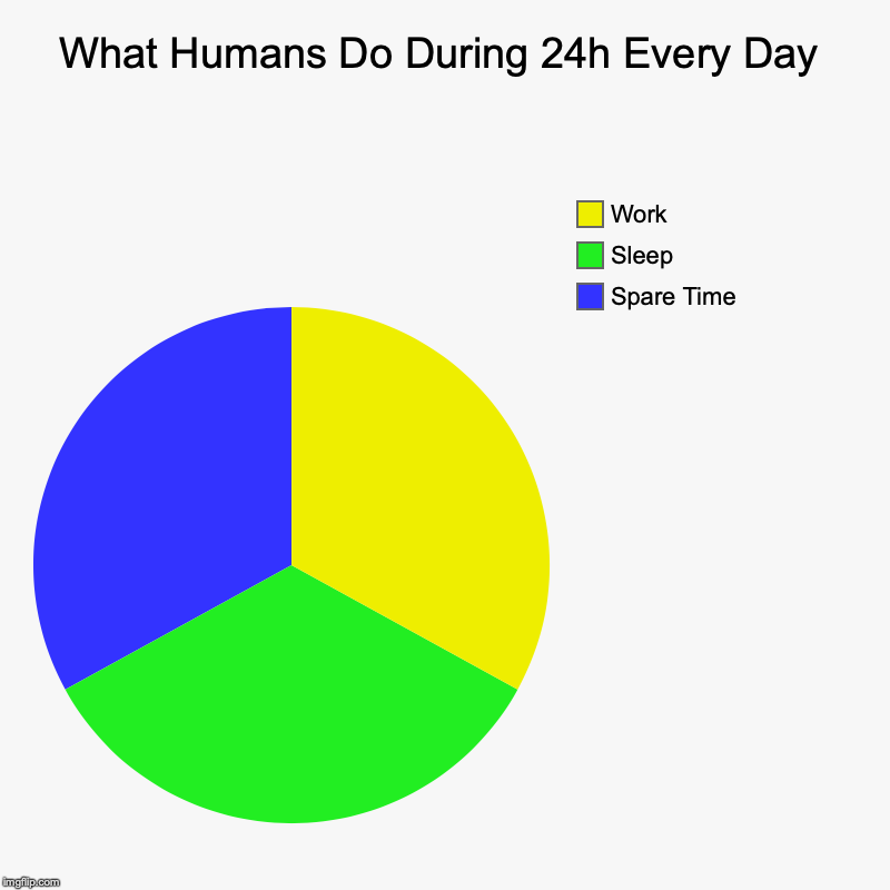 What Humans Do During 24h Every Day | Spare Time, Sleep, Work | image tagged in charts,pie charts | made w/ Imgflip chart maker