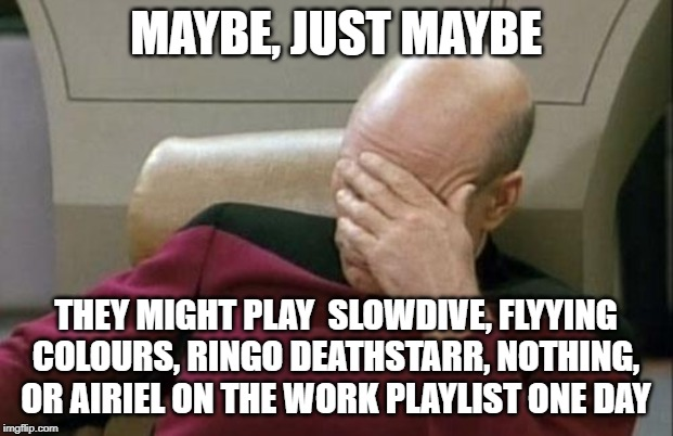Work playlist | MAYBE, JUST MAYBE THEY MIGHT PLAY  SLOWDIVE, FLYYING COLOURS, RINGO DEATHSTARR, NOTHING, OR AIRIEL ON THE WORK PLAYLIST ONE DAY | image tagged in memes,captain picard facepalm,shoegaze,shoegaze meme,work meme,musc meme | made w/ Imgflip meme maker