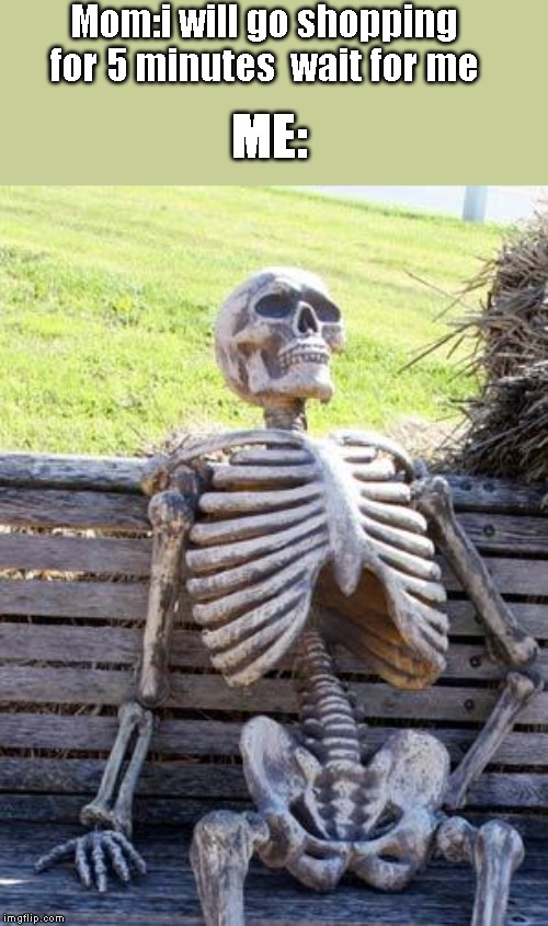 Just run to your home when she say that. | Mom:i will go shopping for 5 minutes  wait for me ME: | image tagged in memes,waiting skeleton,still waiting,dead,shopping,mom | made w/ Imgflip meme maker