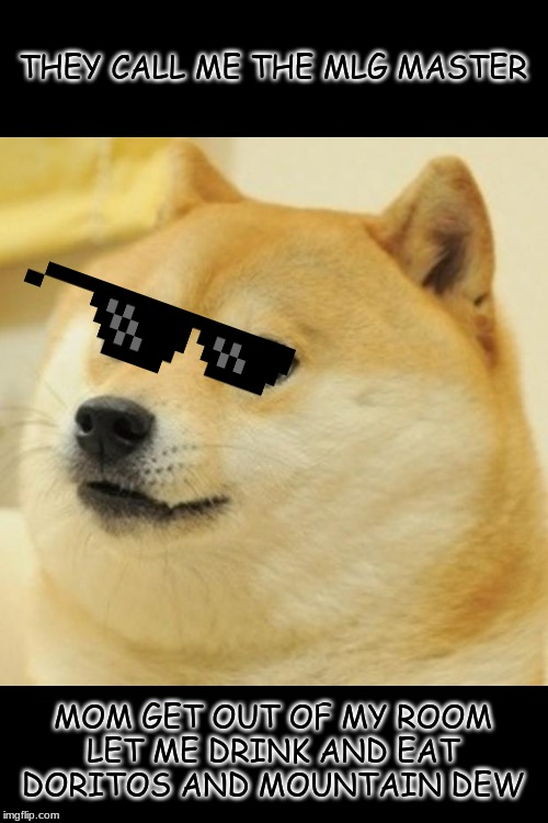 Doge Meme | THEY CALL ME THE MLG MASTER MOM GET OUT OF MY ROOM LET ME DRINK AND EAT DORITOS AND MOUNTAIN DEW | image tagged in memes,doge | made w/ Imgflip meme maker