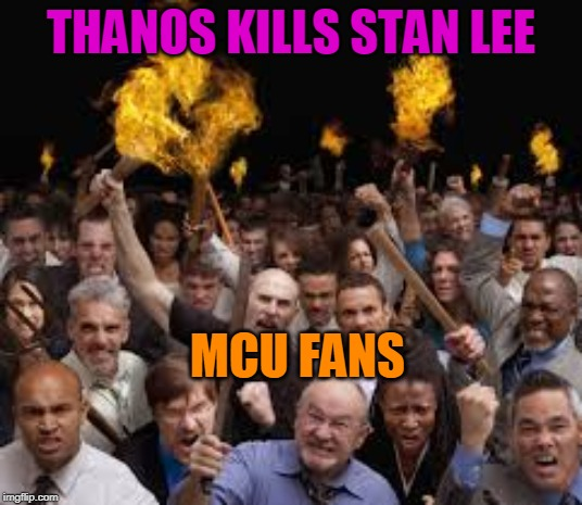 Thanos Kills Stan Lee | THANOS KILLS STAN LEE MCU FANS | image tagged in avengers meme,avengers endgame meme,meme,thanos meme,stan lee meme,mcu fans meme | made w/ Imgflip meme maker
