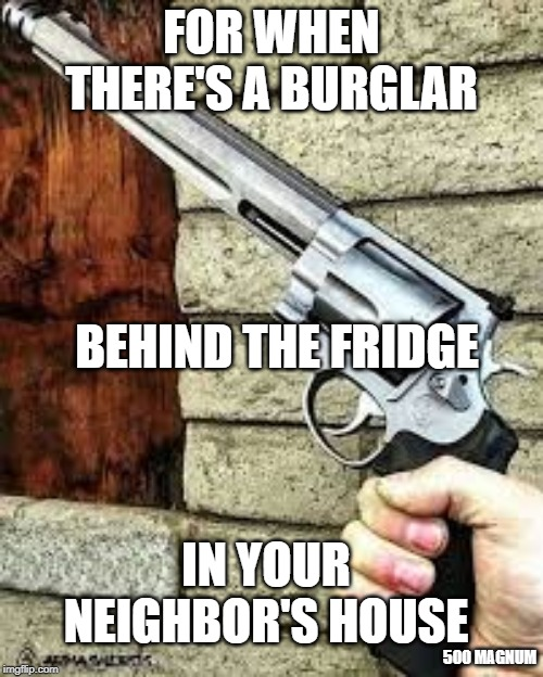 FOR WHEN THERE'S A BURGLAR BEHIND THE FRIDGE IN YOUR NEIGHBOR'S HOUSE 500 MAGNUM | image tagged in 500 mag,robber,guns | made w/ Imgflip meme maker