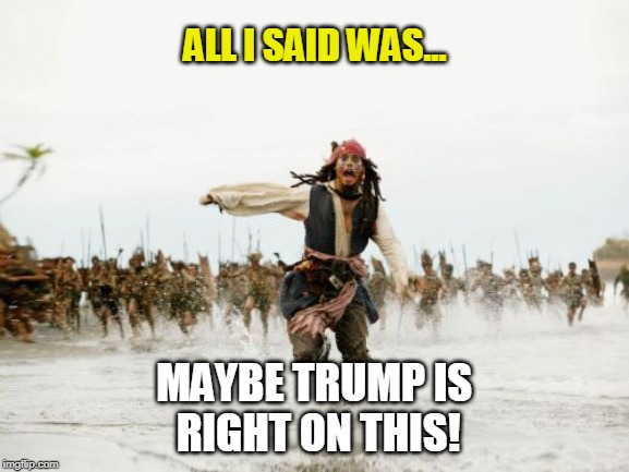 maybe trump is right |  ALL I SAID WAS... MAYBE TRUMP IS  RIGHT ON THIS! | image tagged in trump,left wing,right wing,liberal,funny memes,political meme | made w/ Imgflip meme maker