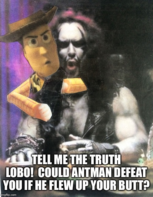 Hey Lobo | TELL ME THE TRUTH LOBO!  COULD ANTMAN DEFEAT YOU IF HE FLEW UP YOUR BUTT? | image tagged in hey lobo | made w/ Imgflip meme maker