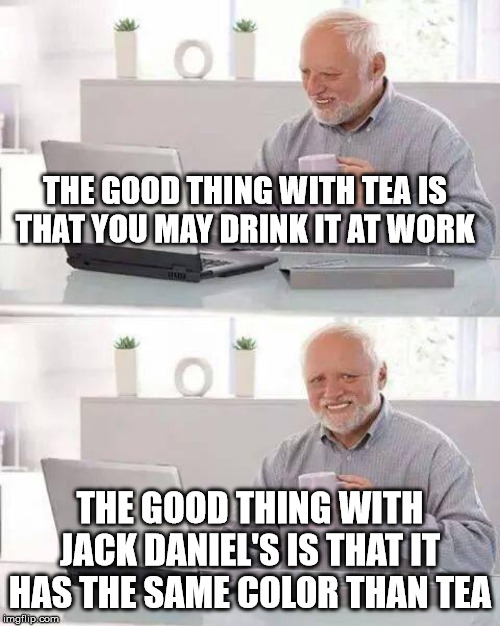 Hide de Booze Harold ! | THE GOOD THING WITH TEA IS THAT YOU MAY DRINK IT AT WORK THE GOOD THING WITH JACK DANIEL'S IS THAT IT HAS THE SAME COLOR THAN TEA | image tagged in memes,hide the pain harold,tea,work,jack daniels,whiskey | made w/ Imgflip meme maker
