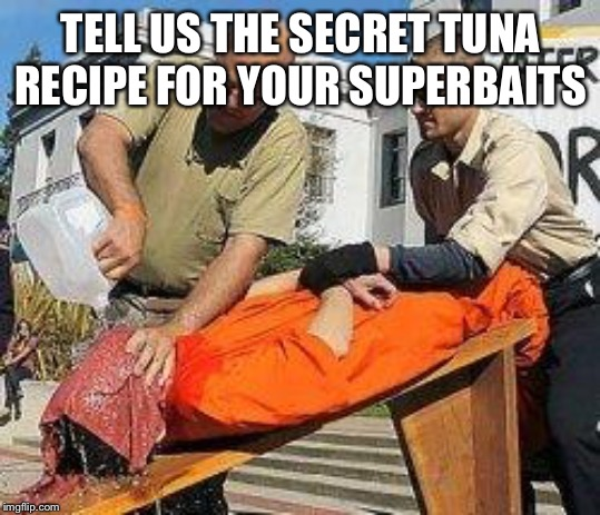 Waterboarding | TELL US THE SECRET TUNA RECIPE FOR YOUR SUPERBAITS | image tagged in waterboarding | made w/ Imgflip meme maker