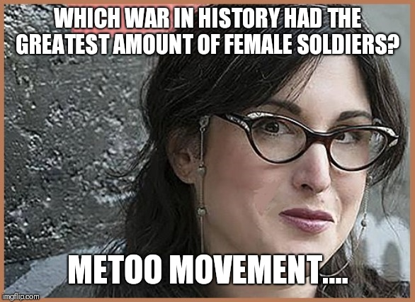 WHICH WAR IN HISTORY HAD THE GREATEST AMOUNT OF FEMALE SOLDIERS? METOO MOVEMENT.... | image tagged in feminist zeisler | made w/ Imgflip meme maker