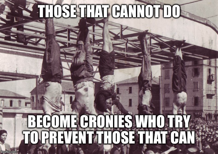 Mussolini and cronies hanged 1945 | THOSE THAT CANNOT DO BECOME CRONIES WHO TRY TO PREVENT THOSE THAT CAN | image tagged in mussolini and cronies hanged 1945 | made w/ Imgflip meme maker