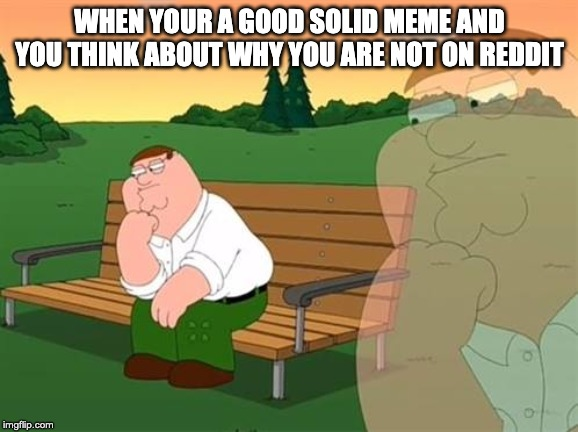 pensive reflecting thoughtful peter griffin | WHEN YOUR A GOOD SOLID MEME AND YOU THINK ABOUT WHY YOU ARE NOT ON REDDIT | image tagged in pensive reflecting thoughtful peter griffin | made w/ Imgflip meme maker