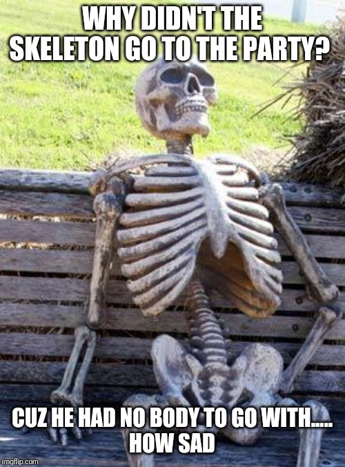 Waiting Skeleton Meme | WHY DIDN'T THE SKELETON GO TO THE PARTY? CUZ HE HAD NO BODY TO GO WITH..... HOW SAD | image tagged in memes,waiting skeleton | made w/ Imgflip meme maker