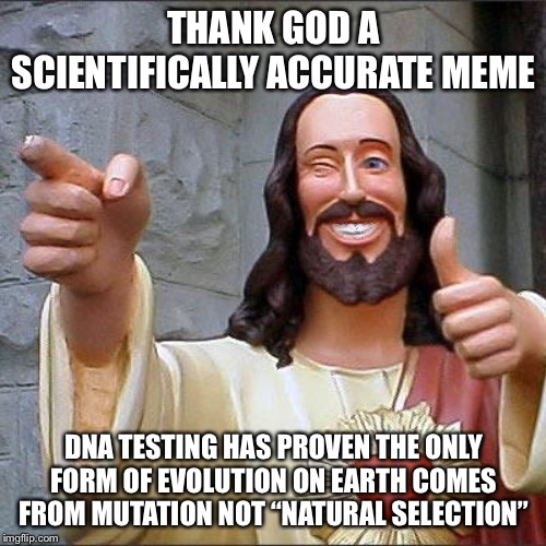 "Buddy Christ Meme | THANK GOD A SCIENTIFICALLY ACCURATE MEME DNA TESTING HAS PROVEN THE ONLY FORM OF EVOLUTION ON EARTH COMES FROM MUTATION NOT ""NATURAL SELECTI 