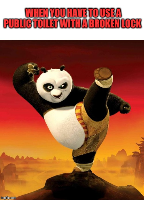 Temporary Kung Fu Master. | WHEN YOU HAVE TO USE A PUBLIC TOILET WITH A BROKEN LOCK | image tagged in kung fu panda,public restrooms,multitasking | made w/ Imgflip meme maker