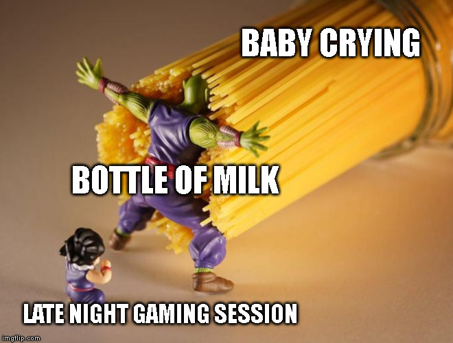 Picolo | BABY CRYING BOTTLE OF MILK LATE NIGHT GAMING SESSION | image tagged in picolo | made w/ Imgflip meme maker