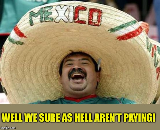 Happy Mexican | WELL WE SURE AS HELL AREN'T PAYING! | image tagged in happy mexican | made w/ Imgflip meme maker