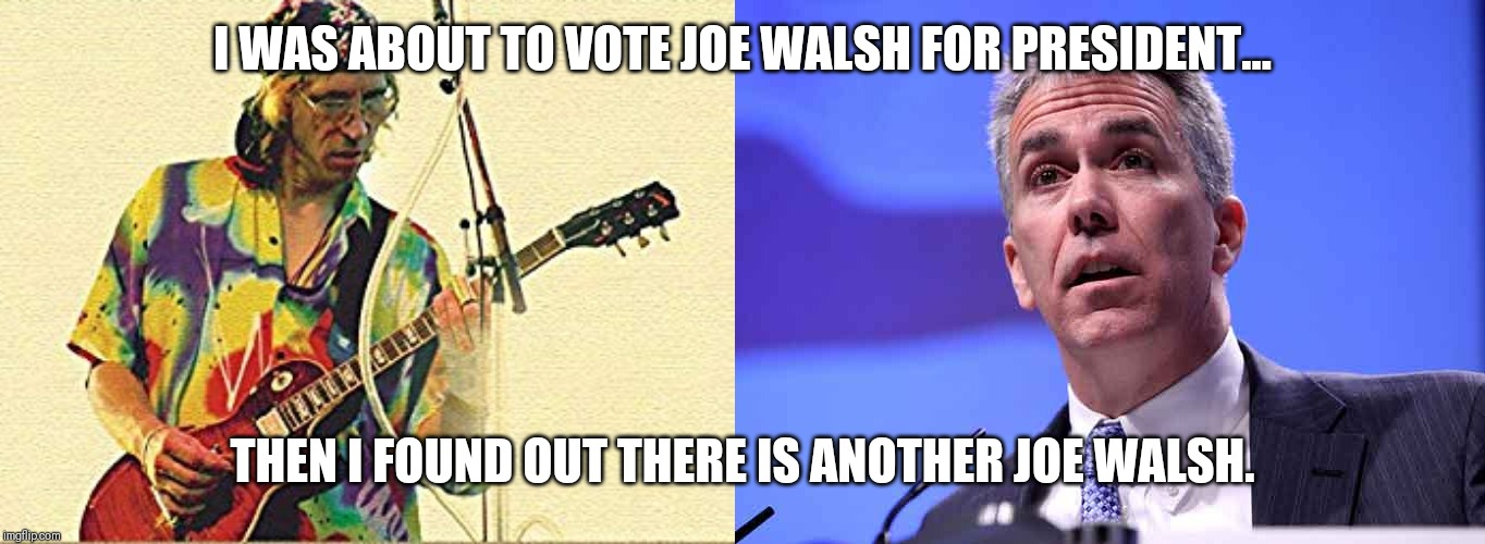 I WAS ABOUT TO VOTE JOE WALSH FOR PRESIDENT... THEN I FOUND OUT THERE IS ANOTHER JOE WALSH. | image tagged in joe walsh president | made w/ Imgflip meme maker